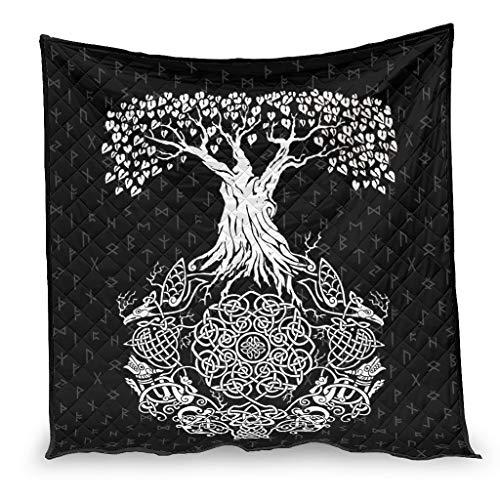 OwlOwlfan Viking Yggdrasil Tree of Life Roots - Tótem de nudo súper suave Lightweigt hipoalergénico verano colcha para invierno adicional calor blanco 200 x 230 cm