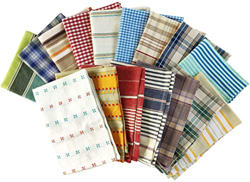 Craftbot Farmhouse Assorted Kitchen Towels 100% Cotton - Set of 4 Mixed Woven Designs - Patterned Dish Towels Tea Towels