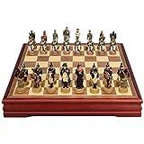 Xu Yuan Jia-Shop Juego de ajedrez Ajedrez Ajedrez Ajedrez Juego de Caracteres Resina con Fieltro Juego de Tablero Interior for el Almacenamiento Juego ajedrez para niños y Adultos