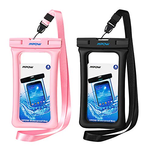 Mpow 084 Waterproof Phone Pouch Floating, IPX8 Universal Waterproof Case Underwater Dry Bag Compatible iPhone 11 Pro Max/XS Max/XR/X/8P/7P Galaxy S10/S9 Note 10/9 Google Pixel Up to 6.5' (Black,Pink)