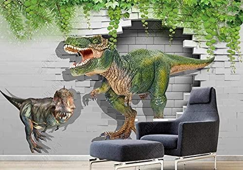 Green Vine The Brick Wall Dinosaur World Papel tapiz no tejido Papel tapiz 3D Decoración de pared Murales Sala de e Pared Pintado Papel tapiz 3D Decoración dormitorio Fotomural sala mural-400cm×280cm