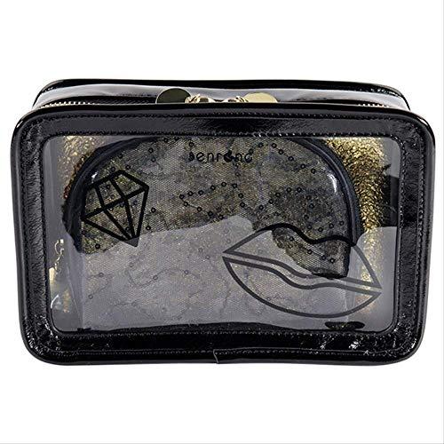 ANLEVO Ensemble de Sac à cosmétiques, Petit Sac carré à Fermeture à glissière Transparente, Ensemble de 3 Sacs à cosmétiques