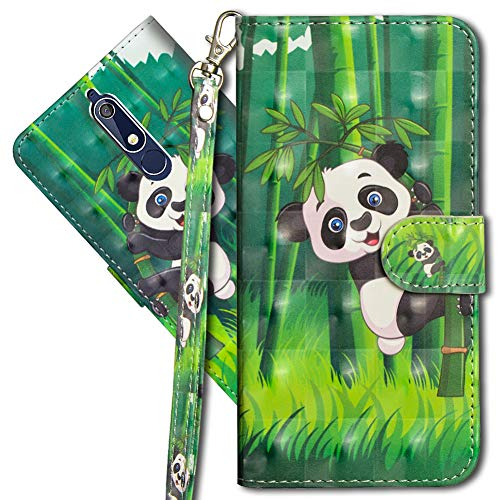MRSTER Nokia 5 Handytasche, Leder Schutzhülle Brieftasche Hülle Flip Hülle 3D Muster Cover mit Kartenfach Magnet Tasche Handyhüllen für Nokia 5 2017. YX 3D - Panda Bamboo