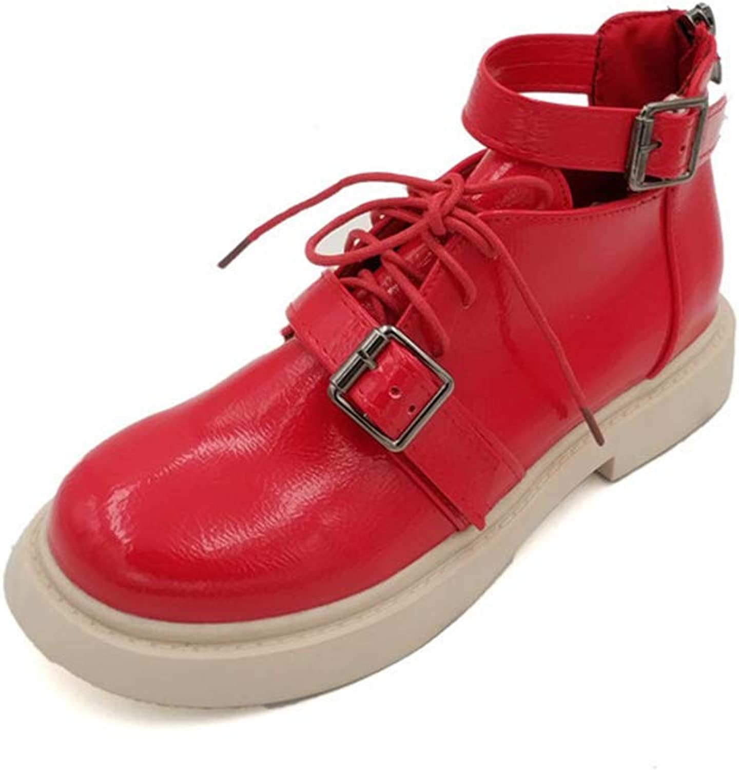 Hoxekle Ankle Boot British Style Red shoes Women Lace-up for Women Boots Leather Zipper Punk shoes