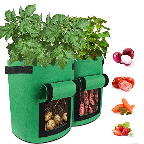 Elezenioc 2 Stück Pflanzsack,7 Gallonen Kartoffel Pflanzsack aus Vliesstoff,Pflanztaschen mit Klett Fenster und Griff,Große Pflanztöpfe Anzucht für Tomaten,Erdbeeren,Blumen und Mehr (2*Grün)