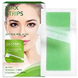 60 Facial Wax Strips - Hypoallergenic All Skin Types - Facial Hair Removal For Women - At Home Waxing Kit with 60 Face Wax Strips(30 Double Sided Strips) + 4 Calming Oil Wipes