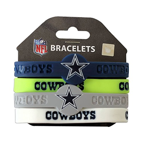 Aminco NFL Dallas Cowboys Silicone Bracelets, 4-Pack