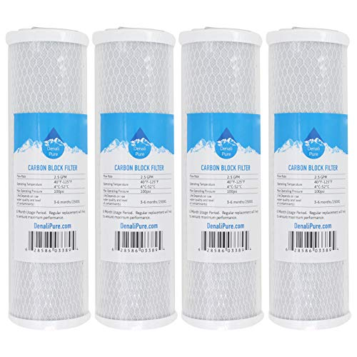 Replacement GE GXRM10GBL Activated Carbon Block Filter - Universal 10 inch Filter for GE REVERSE OSMOSIS FILTRATION SYSTEM - Denali Pure Brand by Denali Pure