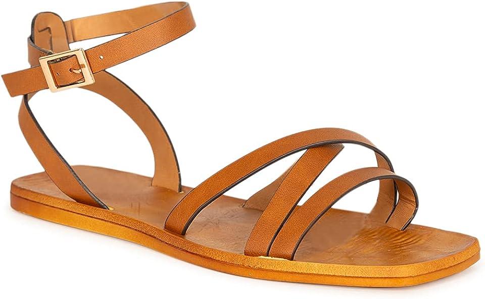 Women's Criss Cross Strappy Square Toe Flat Sandal 20576