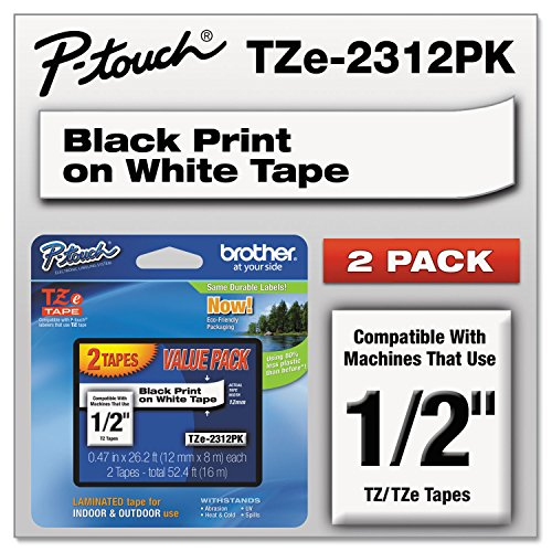 "Brother TZE2312PK TZe Standard Adhesive Laminated Labeling Tapes 1/2""w, Black on White, 2/PK"