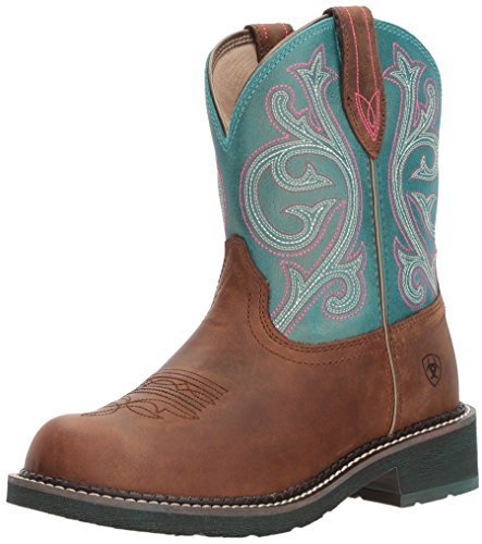 Ariat Women's Fatbaby Heritage Western Boot, Distressed Brown/Shimmer Turquoise, 9 B US