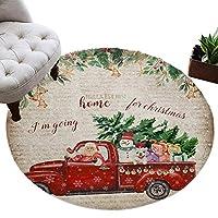 カーペット 円形 ラグマット クリスマス 車 クリスマスツリー 雪だるま プレゼント サンタクロース じゅうたん シャギーラグ 絨毯 ふわふわ マイクロファイバー 防音 滑り止め付 床暖房 ホットカーペット対応 おしゃれ 直径 91cm