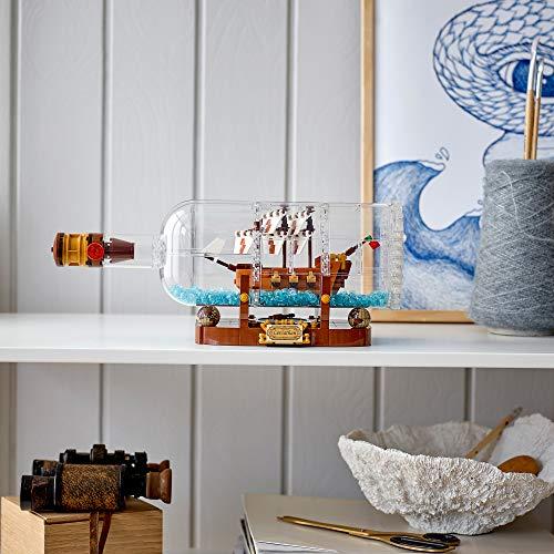 LEGO Ideas Nave in Bottiglia, Set di Costruzioni per Collezionisti con Espositore, 92177