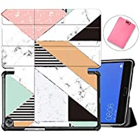 MAITTAO Compatible For Huawei MediaPad M5 8.4 Case, Slim Leather Folio Smart-Shell Stand Cover with Auto Wake/Sleep for Huawei MediaPad M5 8.4 inch 2018 Release Android Tablet, Marble 4