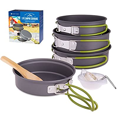 RoryTory Camping Cookware Collapsible Cooking Pots & Pan Survival Kit - Complete Backpacking Gear Set with Frying Pan, Small Pot, Large Pot, Serving Cups & Stirring Spoon - Hiking & Outdoors Full Kit