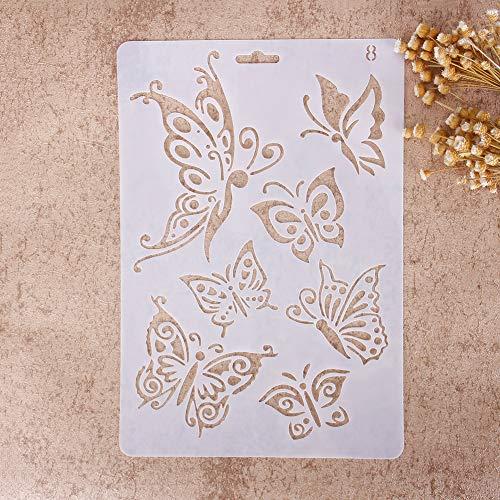 Plantillas con diferentes patrones ZHUOTOP para pintar con aerógrafo, para manualidades y decoración, 08, 01#