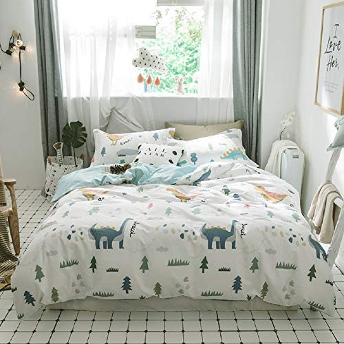AMWAN Cartoon Dinosaur Kids Bedding Set Queen Soft Cotton Full Duvet Cover Set for Boys Girls Modern...