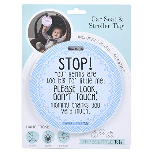THREE LITTLE TOTS – Blue Stop Please Look Don't Touch Baby Car Seat Sign or Stroller Tag - CPSIA Safety Tested