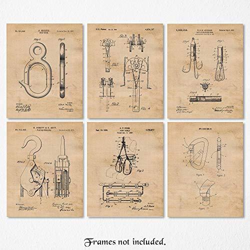 Vintage Rock & Mountain Climbing Patent Art Poster Prints, Set of 6 (8x10) Unframed Photos, Great Wall Art Decor Gifts Under 20 for Home, Office, Garage, Man Cave, Student, Teacher, Climber, Fan