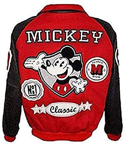 e Genius Mickey Mouse Michael Jackson Funky Varsity Red Bomber Lederjacke Gr. XX-Small, rot