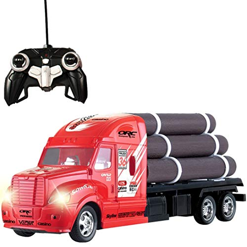 Liberty Imports RC Remote Control Big Rig Logging Semi Truck Transport Series with Pup Trailer and Logs