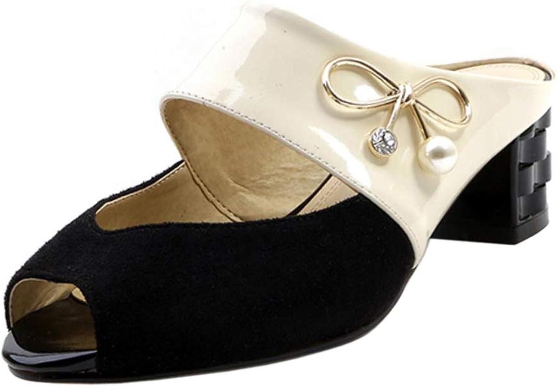 CularAcci Women Fashion Block Heel Mules Peep Toe