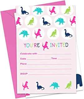 Girls Dinosaur Party Invitations with Pink Envelopes (15 Pack) Fill In Invites for T-Rex Birthday