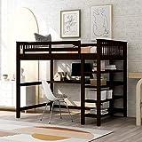 Merax Wood Loft Storage Shelves and Under-Bed Desk, No Box Spring Needed, Full, Espresso
