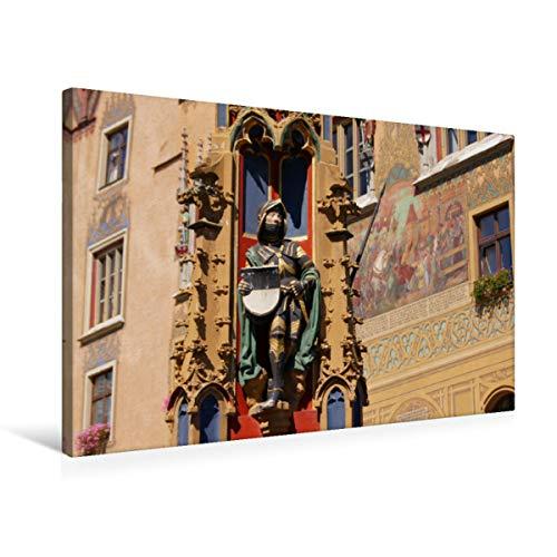 CALVENDO Premium Textil-Leinwand 75 cm x 50 cm quer, Brunnen vorm Ulmer Rathaus | Wandbild, Bild auf Keilrahmen, Fertigbild auf echter Leinwand, Leinwanddruck: ULM an der Donau Orte Orte