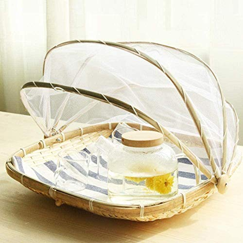 yzl Staubdichter runder Picknickkorb Handgewebter Lebensmittel-Servierkorb Lebensmittelzeltkorb mit Netzgewebe-Abdeckung für Gemüsefruchtbrot
