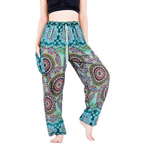 Lofbaz Yoga Boho Pantalones para Mujeres niñas con Bolsillo Harem Pijamas Ropa Salón Ropa de Maternidad Hippie Verano Flor Verde Azulado S