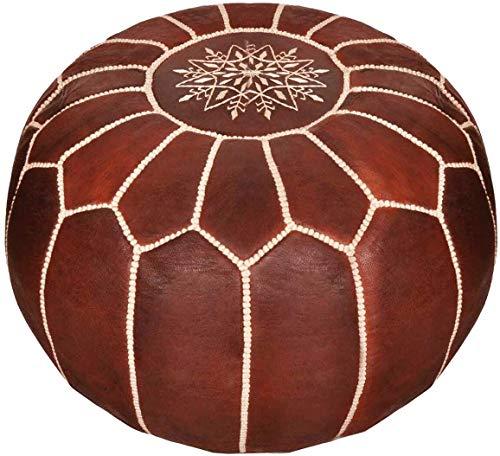D.Art Group- Moroccan Pouf - Genuine Goatskin Leather - Bohemian Living Room Decor - Hassock & Ottoman Footstool - Round & Large Ottoman Pouf - Unstuffed