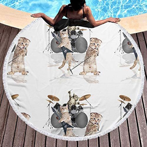 ALDDL Manta de toalla de playa redonda gruesa – Gatito rockero banda grande círculo circular Mat