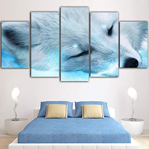 Preisvergleich Produktbild WZYWLH 5 Stück Tierbilder Pop Art Decor gerahmte Gemälde Ice Fox Leinwand Poster blau Bild Quadros Decor Leinwand Wandkunst
