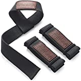 WARM BODY COLD MIND Lifting Wrist Straps for Olympic Weightlifting, Powerlifting, Bodybuilding, Functional Strength Training - Heavy-Duty Cotton Wrist Wraps, Pair (Black Lasso)