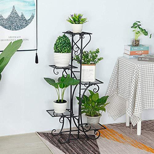 MTHDD Soportes para Plantas,Estanteria para Macetas 5 Niveles,Maceteros Porta Macetas Metal,Decorativos Stand para Macetas Exterior Interior Jardín,Negro
