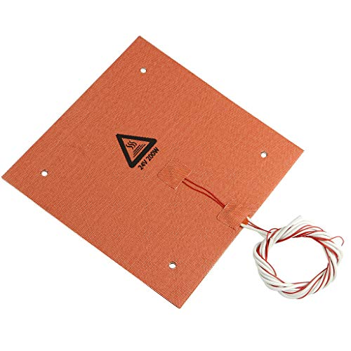 3D Printer Silicone Heated Pad, Heating Plate 235x235mm, 24V 200W Heater Bed Hotbed with Screw Holes & Adhesive