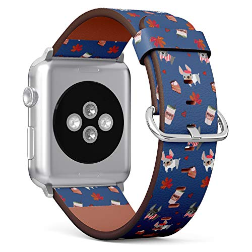 (Cute Pattern of French Bulldog Puppies with Cake and Coffee) Patterned Leather Wristband Strap for Apple Watch Series 4/3/2/1 gen,Replacement for iWatch 42mm / 44mm Bands