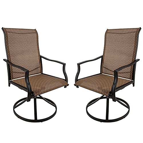 2 in 1 Patio Swivel Dining Chairs Set of 2, Outdoor Ergonomic Textilene Rocker Chair, Metal Patio Chair for Backyard Porch Garden Lawn, Outdoor Furniture Weather Resistant, Brown