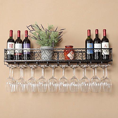 CHGDFQ Portavasos de hierro forjado para colgar copas de vino de pared de hierro forjado, soporte para copas de vino, soporte para copas de cocina (color negro, tamaño: 80 x 25 x 16 cm)