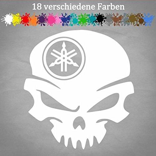 Generic Yamaha Aufkleber 13 x 12 cm Totenschädel Tuning Auto Sticker Car Skin Wunschfarbe in 18 Farben
