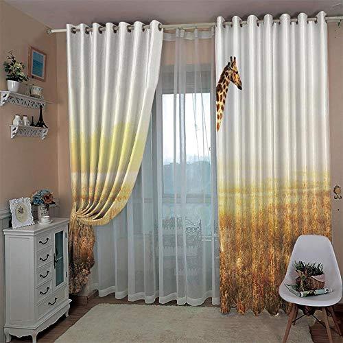 SUZIHUA Verdunkelungsvorhang 3D Giraffe Massiver Vorhang Isolierung Fensterdekoration Öse Wohnzimmer Schlafzimmer...