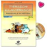 Tierisch klavierisch Band 1-46 leichte Klavierstücke (nicht nur) für Kinder - Autor Karin Groß - Notenbuch mit CD und bunter herzförmiger Notenklammer