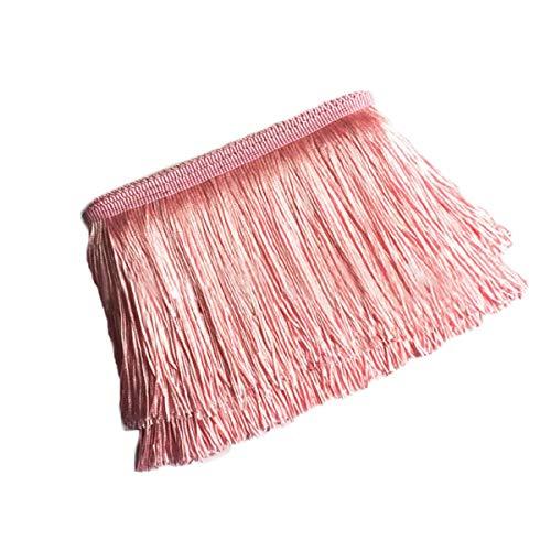Yalulu 10 Meter Länge 10cm Breite Quaste Seide Fransen Geschnitten Fransenborte Kostüm Quaste Trimmen Apparel Fransenband Nähzubehör (Rosa)