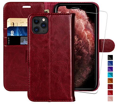Monasay - Funda tipo cartera para iPhone 11 Pro Max de 6,5 pulgadas, protector de pantalla de cristal incluido] [bloqueo RFID] Funda de piel con tapa para teléfono celular con soporte para tarjeta de crédito para iPhone 11 Pro Max