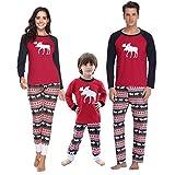 Aibrou Pijamas de Navidad Familia Conjunto Pantalon y Top Pijamas Mujer Hombre...