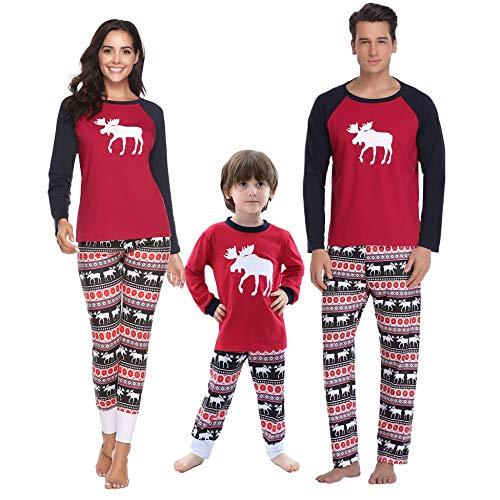 Aibrou Pijamas Navidad Familia Conjunto Pantalon Top
