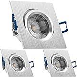 3er LED Einbaustrahler Set Bicolor (chrom/gebürstet) mit COB LED GU10 Markenstrahler von LEDANDO - 5W DIMMBAR - warmweiss - 40° Abstrahlwinkel - schwenkbar - 50W Ersatz - A+ - COB LED Spot 5 Watt -