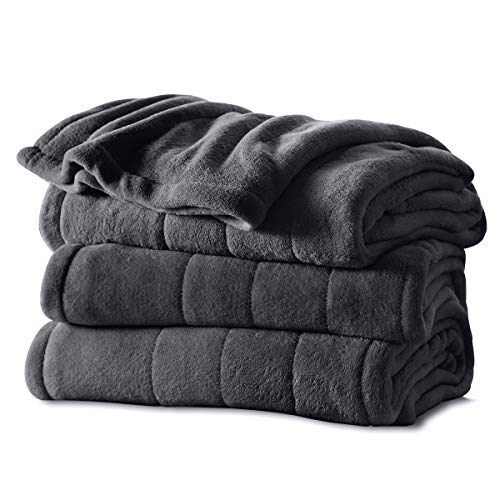 Sunbeam Heated Blanket | Microplush, 10 Heat Settings, Slate, Twin - BSM9KTS-R825-16A00