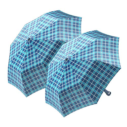 2-Pack Nautica Umbrella for Travel - Auto Open Compact, Lightweight & Folding - Best Windproof Umbrellas for Rain, Sun & Wind Protection, Small, Automatic & Collapsible in Blue Plaid